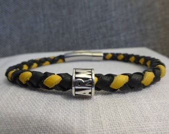 US Army Black and Gold Braided Leather Bracelet with a Sterling Silver Army Bead stamped 925.
