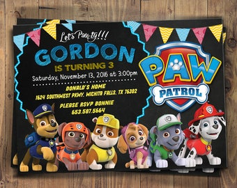 Paw Patrol Birthday Invitation. Paw Patrol Invitation for Birthday Party, Personalized Paw Patrol Invitation, Paw Patrol Invitation