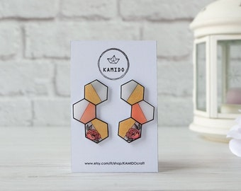Gold and flowers hexagon earrings