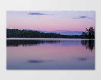 Pink Nature Photography Canvas Print, Minnesota Wall Art Canvas Landscape, Boundary Waters Art, Nursery Wall Art Woodland Canvas Art
