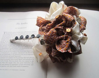 Vintage Wedding Bouquet * Fabric Flowers * Vintage Handmade Pom Bouquet * Silk and Buttons