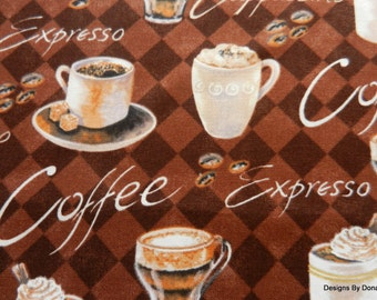 One Fat Quarter Cut Quilt Fabric, Coffee Cups, Mugs, Beans,, 2 Tone Brown Diamonds, Brother Sister Design, Sewing-Quilting-Craft Supplies