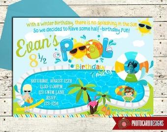 Pool Birthday Invitation, Half Birthday Party, Summer Birthday, Pool Party Invitation, Swimming Party, End of Summer, Digital, invite, Party