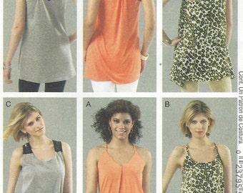 Womens Racerback Tunics Summer Tunics McCalls Sewing Patterns M6359 Size 6 8 10 12 14 Bust 30 1/2 to 36 UnCut Sewing Patterns