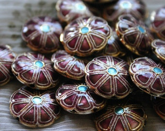 SALE Burgundy smiling flowers   - Floral Cloisonne beads (2)