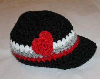 Baby Boy Valentine Hat - Baby Boy Newsboy Hat - Crochet Baby Boy Newsboy Cap - Valentine's Day hat - Baby Shower Gift - Newborn Photo Prop