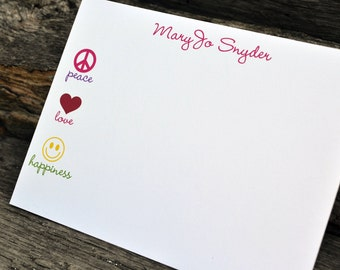 Personalized Flat Note Cards Peace Love and Happiness Stationery