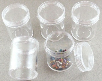 """Clear Plastic Bead Storage Tall Mini Containers 1 7/16"""" x 1 7/8"""" (Set of 5)"""