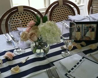 Great Navy Blue Stripe Table Runner Wedding Table Centerpiece Decoration Navy  Stripe Linens Nautical Decor
