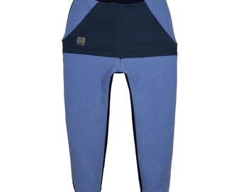 Pants, trousers, cotton, blue, sizes 6 months - 5 years, for a girl, for a boy, baby pants, pants with pockets