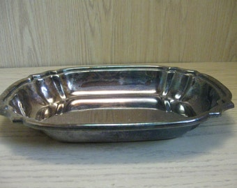 Crescent Silver Co Silver Plate Serving Bowl Tray Rib Corners 1922-1977