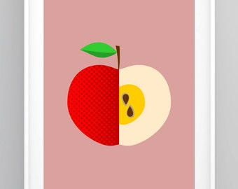 Kitchen Print, Pop Art, Mid Century Modern, Scandinavian Print, Kitchen Decor, Apple Print, Retro Poster, Kitchen Wall Art (R007)