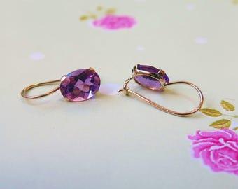 14K Gold Earrings, Amethyst Earrings, Gold Drop Earrings, Oval Drop Earrings, February Birthstone, Gemstone Jewelry, Amethyst Jewelry,
