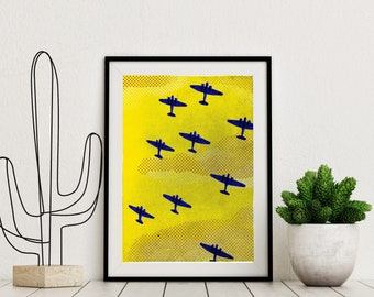 Planes Art Print, Airplane wall art, 40s print, comic art, planes print, modern pop art, minimalism