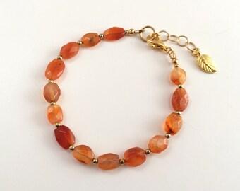 Carnelian beaded bracelet. Sundance style jewelry. Orange bracelet, gemstone bracelet. Stone beaded, gold bracelet. Sundance bracelet gold.