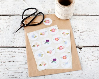 """Set of 24 Flower Stickers, 1"""" inch, stickers, paper goods, flowers, floral stickers, packaging, colored stickers, labels"""