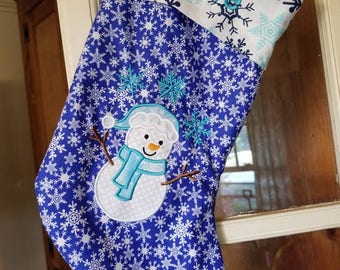 Christmas snowman personalized stocking christmas stocking snowman themed
