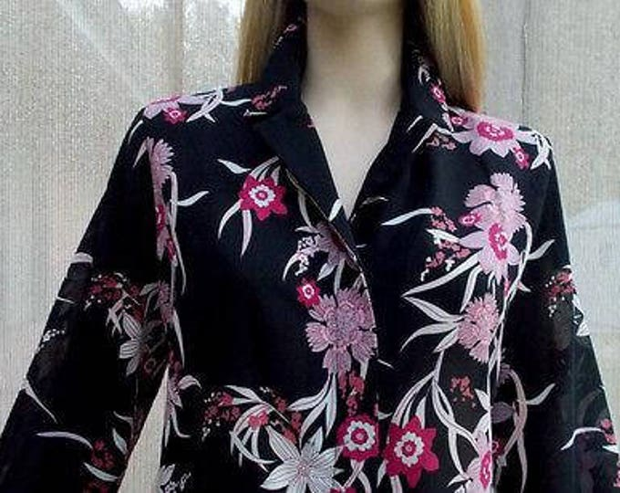 Vintage 90s Preppy City Black Pink Floral Polyester Women's Long Sleeve Blouse Shirt Top 32