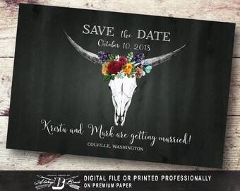 Rustic Save the Date Postcard | Printed or Printable Digital File DIY | Bull Skull Save the Date Postcard | Fall Horns Gold Boho Chalk