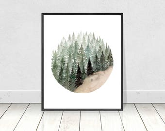 Watercolor Pine Tree Forest Circle Painting Art Print- Scandinavian Painting Forest Print- Pine Tree Circle- Nature Landscape Art Print