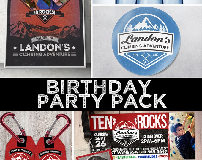Any Age, Rock Climbing Birthday Invite, 10 rocks, ten rocks, boy birthday, Adventure outdoors, hiking, 9. 10, 11, 12, 13, 14, 8, party pack