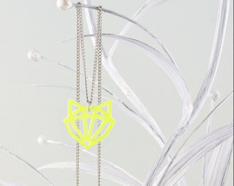 Little Fox Pendant Neon Yellow & Silver Necklace