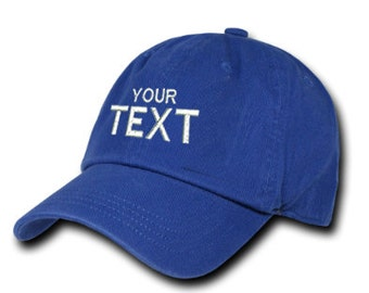 Royal Blue Dad Hat Custom Embroidered Baseball Cap, Your Own Personalized Hat Custom Hat on a Curved Brim Baseball Cap, Choose Your Text