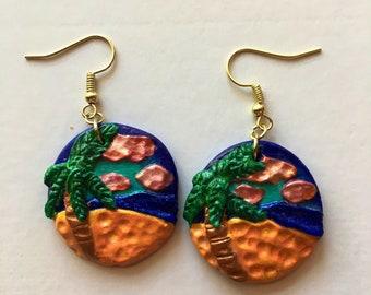 Beach Scene Handcrafted Polymer Clay Earrings