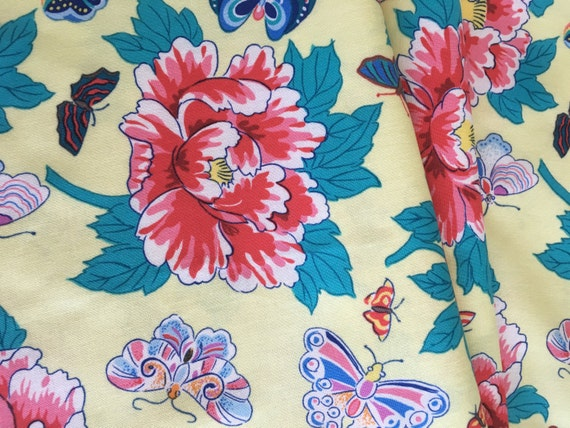 Free Spirit Snow Leopard Designs Floating World Peony and Butterflies 1 yard