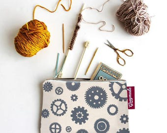 Gifts for Builders. Tool Pencil Pouch   Grey Cog & Gears Canvas   Gifts for artists, makers, mechanics, builders   grey gear