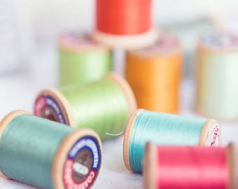 Vintage Sewing Photography - Thread Photography - Vintage - Whimsical Photograph - Thread - Fine Art Photography Print - Pastel Home Decor