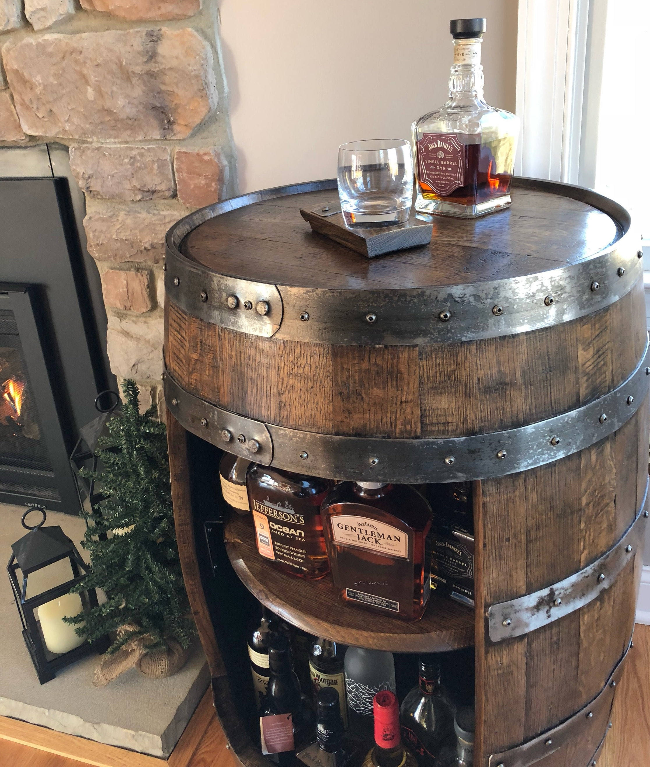 Whiskey Barrel Liquor Cabinet ~ Handcrafted From A Reclaimed Whiskey Barrel