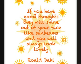 "Roald Dahl ""Sunbeams"" Unframed Children's Print"