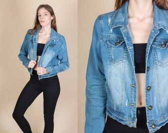 90s Cropped Jean Jacket - Extra Small // Vintage Grunge Ripped Denim Coat