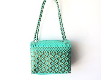 Aqua & Gold Mexican woven plastic bag with long handles,  Mexican Tote, Oaxacan Mexico Woven Handbag, Ethnic Mexican Purse