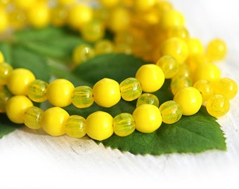 Bright Yellow beads mix Czech glass round spacers, druk, small yellow beads 4-3mm - approx.120Pc - 0480