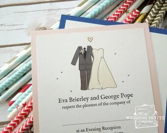 Bride and Groom Postcard Wedding/Evening Invitations