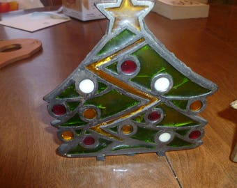 Vintage Stained Glass Candle Holder