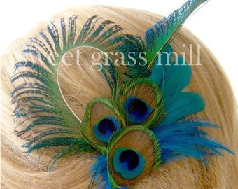 Peacock Feather Fascinator - MARQUISE Clip - Teal Feather Peacock Clip