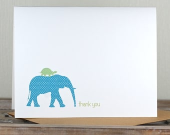 Baby Thank You Cards . Baby Shower Thank You Cards . Baby Shower Thank You Notes . Thank You Cards Baby - Elephant & Turtle