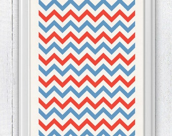 Chevron Pattern - Wall decor Poster-  Vintage nautical Print  - Pop art wall decor- Chic pattern Nautical style NTC033