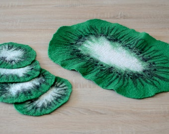 Green coasters, set of 5, natural table decor with kiwi design, felted wool coasters for home, handmade felt tabletop [H8]