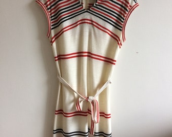 Sailor style knit dress with red and black stripes medium