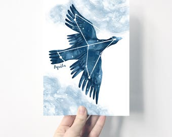 Aquila Star Constellation | Giclée Print | Illustration | Wall Art | Night Sky | Eagle