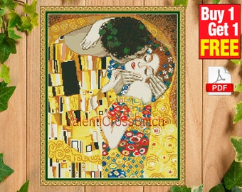 The kiss - Gustav Klimt Cross Stitch Pattern, Kiss, Cross Stitch, Pattern,Patterns, Love, Gustav Klimt, The Kiss, #sp 175