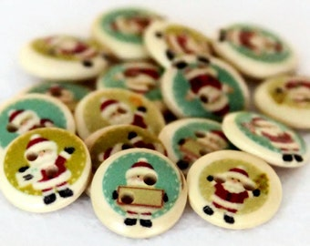15 Christmas Buttons 15mm - Santa Button - Round Painted Natural Wood - Xmas Buttons - Festive Crafts - PW81