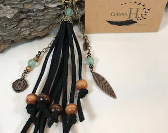Large black suede leather purse handbag charm tassel sea glass & wood beads antique gold feather key chain