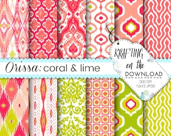 coral and lime green ikat digital paper pack ikat design coral, lime, green scrapbooking papers summer ikat digital paper boho paper pack