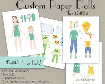 Custom Paper Dolls | Custom Printable Paper Dolls| Custom Party Favor | Customized Doll | Paper Doll Art| Paper doll