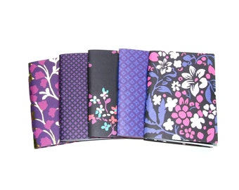Purple Travelers Notebook Inserts, Set of 5 Bullet Journals, Black Floral Fauxdori Refills, Dot Grid Graph Blank Lined Checkbox Music Paper